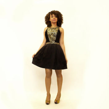 Stunning Black & Gold Brocade Party Dress