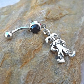 Belly Button Ring Joker Jester Body Jewelry Navel Piercing 14 ga Surgical Steel