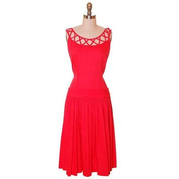 Vintage Red Cotton Dropped Waist Dress 1950s Nice Details 36-30-37
