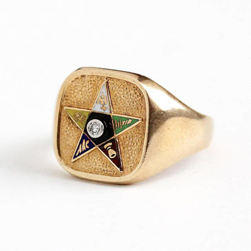 Vintage Star Ring - 10k Rosy Yellow Gold Order of the Eastern Star Diamond Signet Statement - Retro Size 7 1/2 Mason Enamel OES Fine Jewelry