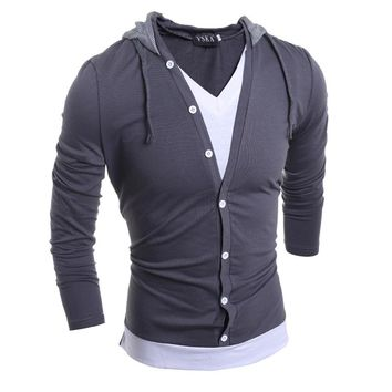 Fake Two Pieces Long Sleeve Slim Fit Hooded T-shirt