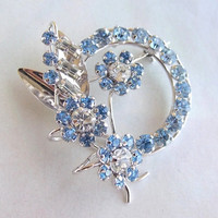 Vintage Star-Art Sterling Brooch with blue crystals, floral 1950s
