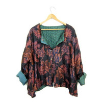 Vintage boho SILK blouse Green Purple Floral Top Hippie Gypsy Button Up Shirt Slouchy Ethnic Festival Blouse REVERSIBLE Womens Size XL