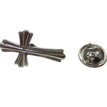 Intricately Detailed Religious Cross Lapel Pin