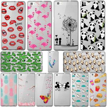 DKF4S Mickey&Minnie kiss Lips pineapple unicorn Flamingo cactus panda Clear soft silicone cases cover for HUAWEI Ascend P8 lite/mini