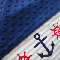 Baby boy blanket, Personalized baby boy blanket, minky baby blanket, stroller blanket, nautical baby blanket, 35 X 30 inches