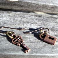 Earrings Brass Lock and Key by By5Jewelry on Etsy