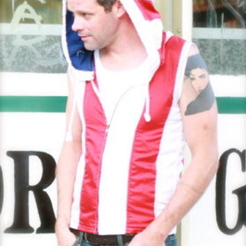Mens Handmade American Flag Hoodie Jacket sleeveless with large hood Real Upcycled