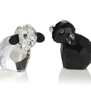 Swarovski Black&Clear Crystal Figurines Pair Of Sheep PIONEER EBONY & IVORY #5268844