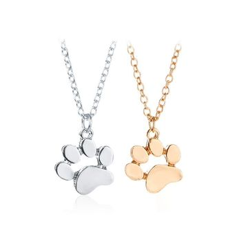 MISANANRYNE Gold Color Chokers Necklace Cat and Dog Paw Print Animal Women Jewelry Lovely Delicate Pendant Statement Necklaces