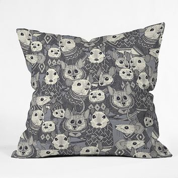 Sharon Turner sweater mice Throw Pillow