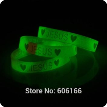 50x Heart JESUS glow in dark silicone Bracelet wristband Fashion Catholic Christian Religious Jewelry
