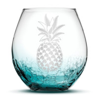 Crackle Teal Wine Glass with Pineapple Design, Hand Etched
