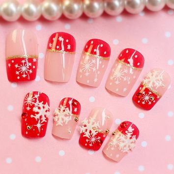 Red False Nails 3D Snowflake Acrylic Fake Nails Tips Glitter Gold Line Nail Art Tips Christmas Must 24Pcs Z010
