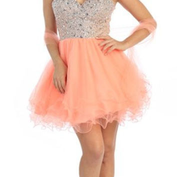 Short Flared Strapless Studded Bodice Peach Prom Dress
