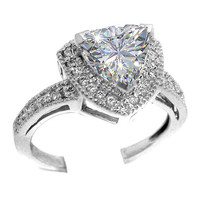 Engagement Ring - Vintage Style Pave Set Trillion Diamond Engagement Ring 0.35 tcw. in 14K White Gold - ES382