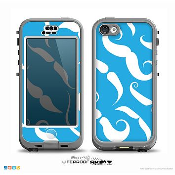 The White Mustaches with blue background Skin for the iPhone 5c nüüd LifeProof Case