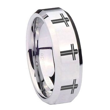 8MM Mirror Bevel Edges Multiple Christian Cross Silver Tungsten Laser Engraved Ring