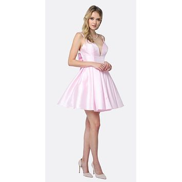 Short Party Dress Light Pink A-Line Removable Back Bow