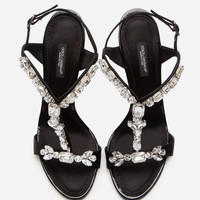 DOLCE&GABBANA D&G  Embroidered silk sandals  Heel height/10.5 cm