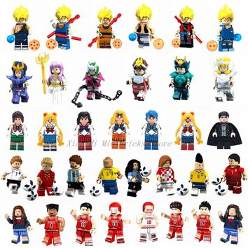 Legoing Figurine Cartoon Anime Figures Dragon Ball Sailor Moon Saint Seiya Athena One Piece Luffy Nami Zoro Figurines Toys Gifts