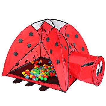 Portable Indoor Playhouse Ladybird Pattern Kid Toy Tent Outdoor Ocean Ball Pit Pool Baby Play Tent Children'S Tent Set Hut Gift