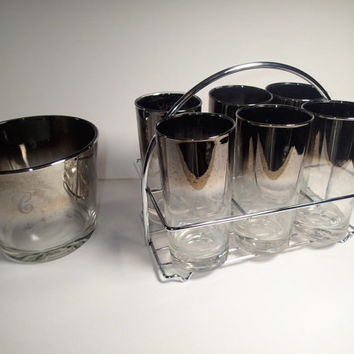 Dorothy Thorpe Bar Set Mercury Fade Silver Ombre Mid Century 8 piece barware set with chrome caddy