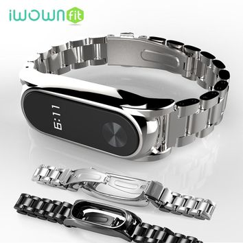 iWOWNfit Smart Accessories for mi band 2 strap Stainless Steel Metal Strap mi band 2 Replacement for xiaomi miband 2 bracelet