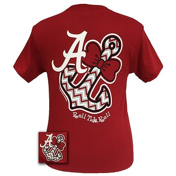 New Alabama Crimson Tide Chevron Anchor Bow Bright T Shirt