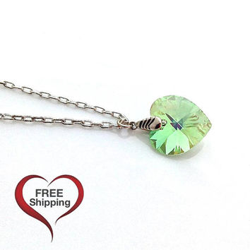 Green Pendant Necklace, Silver Necklace Heart, Swarovski Crystal Heart Necklace Gift, Glass Pendant, Jewelry for Teenage Girls, 624