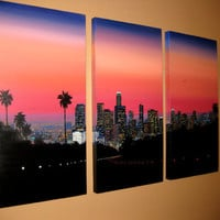 Downtown Los Angeles Sunset Painting by WesVanDykeART on Etsy