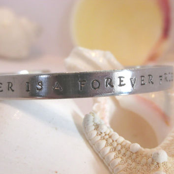 A Sister Is A Forever Friend Hand Stamped Silver Toned Bracelet A2