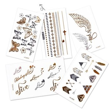 NEW 10 Sheets Waterproof Temporary Tattoo Stickers Glitter Metal Gold Silver Henna Fake Flash Tattoo Body Art Painting