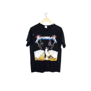 awesome metallica tribute band motorbreath shirt / snake logo / electric chair ride the lightning / justice for all / mens medium - large