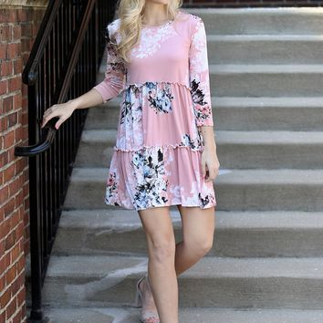 Spring Colors Floral Dress (Blush)