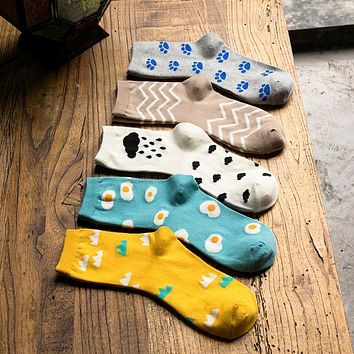 10pcs=5Pairs/lot Casual Cartoon Print Women Socks Funny Happy Art Poached Egg Stripes Cloud Mountain Pattern Cotton Socks