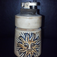 Vintage Table Lighter, Ceramic Sun Ceramic Lighter, Vintage Ceramics, Cigarette Lighter