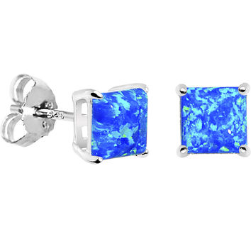 6mm Blue Square Sterling Silver Synthetic Opal Stud Earrings