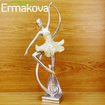 """Dancing Girl sculpture 15.5"""" Modern Living Room/TV/Wine Cabinet Home Art Decor Statues (Colorful)"""