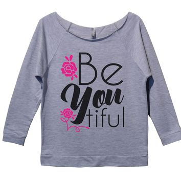 Be You Tiful Womens 3/4 Long Sleeve Vintage Raw Edge Shirt