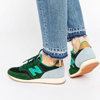 New Balance 620 Green Suede Mesh Trainers