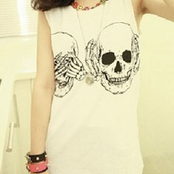 FREE X0-265 Women t shirt 2015 New Fashion Ladies Clothes Skull Print Vest Woman Skeleton tank Tops Free Shipping