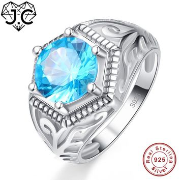 J.C Wedding Band Solitaire Fine Jewelry Blue Topaz Peridot Solid 925 Sterling Silver Ring Size 6 7 8 9 For Women Men Party Gifts