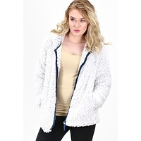 Faux Sherpa Full Zip Hooded Jacket {Off White/Navy}