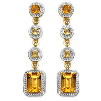 14K Yellow Gold Plated 2.40 Carat Genuine Citrine .925 Sterling Silver Earrings