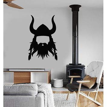 Vinyl Wall Decal Viking Head Helmet Warrior Stickers (3371ig)