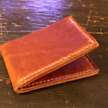 Traditional Slim Two Slot Bi-fold Wallet - Handcrafted Handstitched Horween Chestnut Dublin Leather