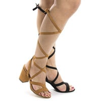Rammy8 Cognac By Liliana, Open Toe Strappy Lace Up Leg Wrap Chunky Heeled Sandals
