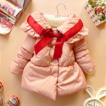 CHRISTMAS NEW YEAR baby coat girl clothes winter coat kids red bowknot jacket baby dress 18m-5t