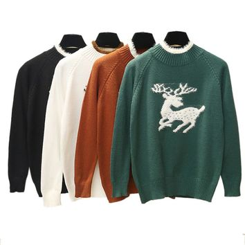 Loose Women Ugly Christmas Sweater 2018 Winter Long Sleeve Embroidery Turtleneck Pullover Knitted Elk Sweater Female